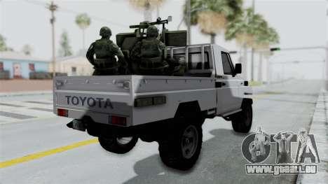 Toyota Land Cruiser Libyan Army pour GTA San Andreas laissé vue