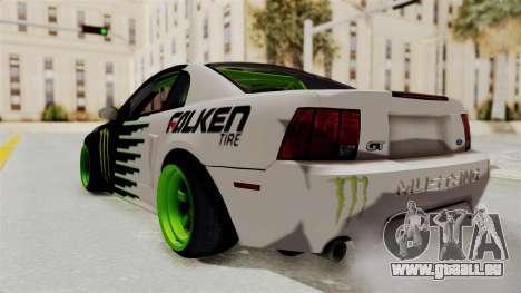 Ford Mustang 1999 Drift Monster Energy Falken pour GTA San Andreas laissé vue
