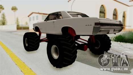 Pontiac GTO Tempest Lemans 1965 Monster Truck pour GTA San Andreas sur la vue arrière gauche