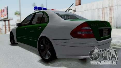 Mercedes-Benz E500 Police pour GTA San Andreas sur la vue arrière gauche