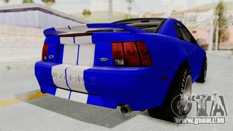 Ford Mustang 1999 Drag pour GTA San Andreas vue de droite