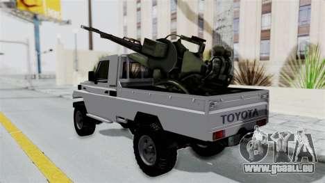 Toyota Land Cruiser Libyan Army pour GTA San Andreas sur la vue arrière gauche
