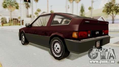 Blista Compact GPX (Beta VC Blistac) pour GTA San Andreas sur la vue arrière gauche