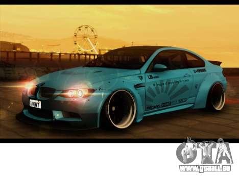 BMW M3 E92 Liberté à Pied LB Performance pour GTA San Andreas sur la vue arrière gauche