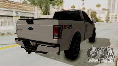 Ford Lobo XLT 2015 Single Cab pour GTA San Andreas sur la vue arrière gauche
