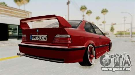 BMW 325i E36 Coupe pour GTA San Andreas sur la vue arrière gauche