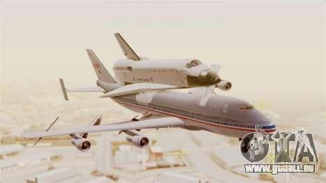 Boeing 747-123 Space Shuttle Carrier für GTA San Andreas zurück linke Ansicht