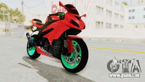 Kawasaki Ninja ZX-6R Highmodif für GTA San Andreas zurück linke Ansicht