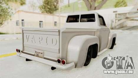 GTA 5 Slamvan Stock pour GTA San Andreas sur la vue arrière gauche