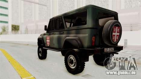 UAZ-3153 Chasseur des forces Serbes pour GTA San Andreas laissé vue