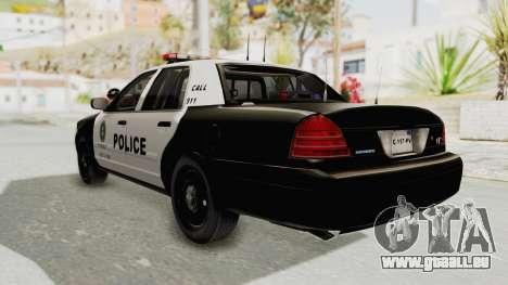 Ford Crown Victoria SFPD pour GTA San Andreas laissé vue