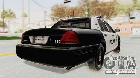 Ford Crown Victoria SFPD für GTA San Andreas zurück linke Ansicht