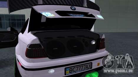 BMW M3 E46 JDM pour GTA San Andreas vue arrière