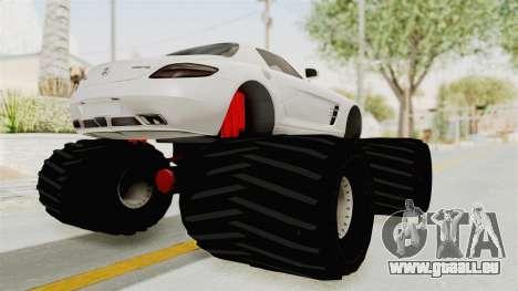 Mercedes-Benz SLS AMG 2010 Monster Truck für GTA San Andreas zurück linke Ansicht