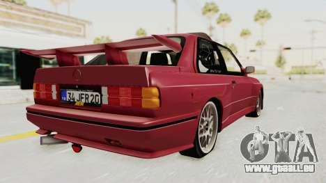 BMW M3 E30 1988 pour GTA San Andreas laissé vue