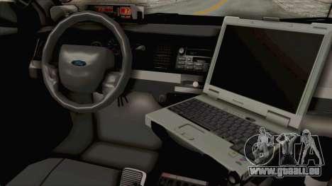 Ford Crown Victoria SFPD pour GTA San Andreas vue intérieure