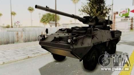 M1128 Mobile Gun System IVF für GTA San Andreas zurück linke Ansicht