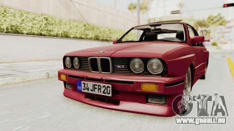 BMW M3 E30 1988 pour GTA San Andreas vue de droite