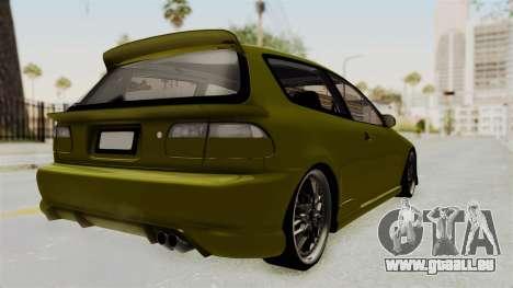 Honda Civic Fast and Furious pour GTA San Andreas sur la vue arrière gauche