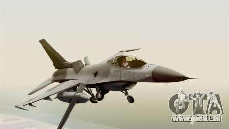 F-16 Fighting Falcon pour GTA San Andreas sur la vue arrière gauche
