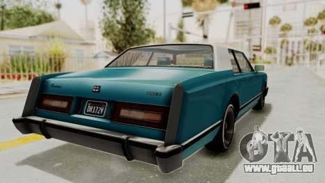 GTA 5 Dundreary Virgo Classic Custom v3 IVF pour GTA San Andreas sur la vue arrière gauche