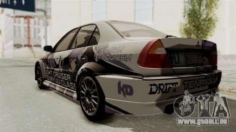 Mitsubishi Lancer Evolution VI Tenryuu Itasha für GTA San Andreas zurück linke Ansicht