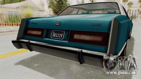 GTA 5 Dundreary Virgo Classic Custom v3 IVF pour GTA San Andreas vue de dessous