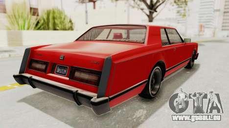 GTA 5 Dundreary Virgo Classic Custom v2 pour GTA San Andreas sur la vue arrière gauche