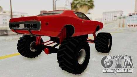 Dodge Charger 1971 Monster Truck pour GTA San Andreas sur la vue arrière gauche