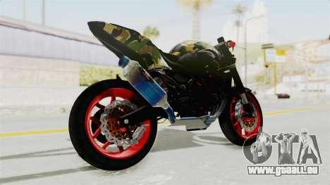 Kawasaki Ninja 250R Naked Camouflage pour GTA San Andreas laissé vue