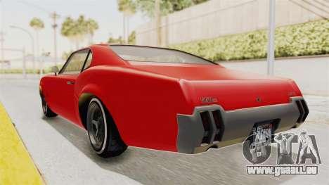 GTA 5 Declasse Sabre GT2 IVF pour GTA San Andreas sur la vue arrière gauche