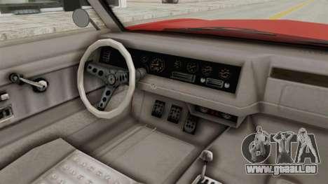 GTA 5 Declasse Sabre GT2 IVF pour GTA San Andreas vue intérieure