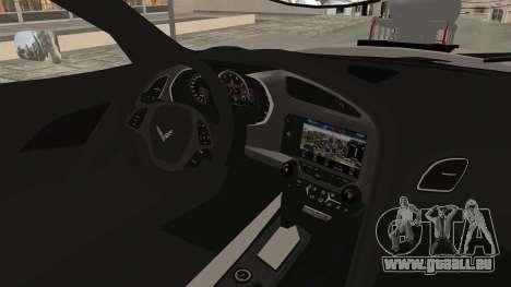 Chevrolet Corvette Stingray C7 Monster Truck pour GTA San Andreas vue intérieure