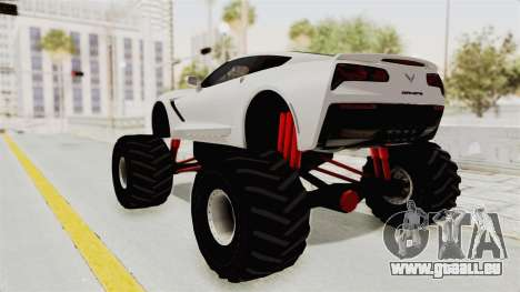 Chevrolet Corvette Stingray C7 Monster Truck für GTA San Andreas zurück linke Ansicht