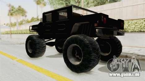 Hummer H1 Monster Truck TT pour GTA San Andreas sur la vue arrière gauche