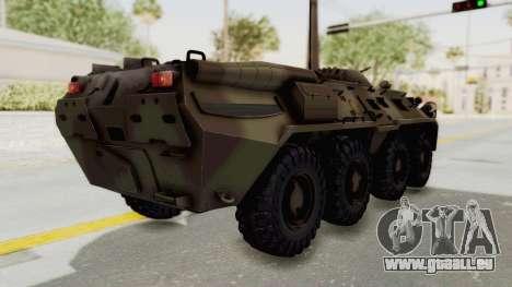 BTR-80 Desert Turkey für GTA San Andreas zurück linke Ansicht