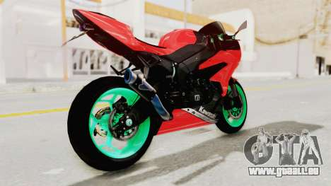 Kawasaki Ninja ZX-6R Highmodif pour GTA San Andreas laissé vue