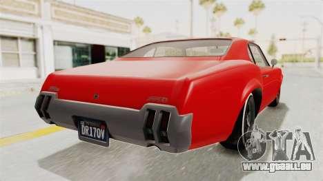 GTA 5 Declasse Sabre GT2 IVF pour GTA San Andreas laissé vue