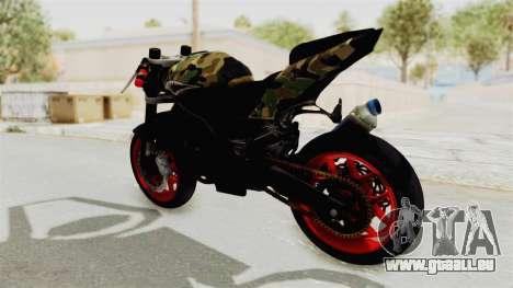 Kawasaki Ninja 250R Naked Camouflage pour GTA San Andreas sur la vue arrière gauche