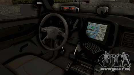 Chevrolet Suburban Indonesian Police RESMOB Unit für GTA San Andreas Innenansicht