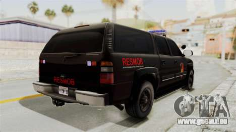 Chevrolet Suburban Indonesian Police RESMOB Unit pour GTA San Andreas vue de droite
