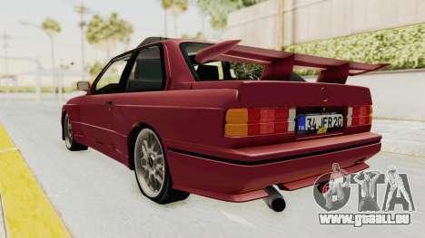 BMW M3 E30 1988 pour GTA San Andreas sur la vue arrière gauche