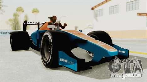 Rio Haryanto 88 F1 Manor Racing pour GTA San Andreas sur la vue arrière gauche