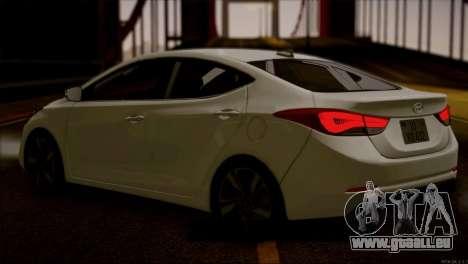 Hyundai ELANTRA 2015 STOCK für GTA San Andreas zurück linke Ansicht