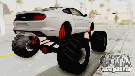 Ford Mustang GT 2015 Monster Truck pour GTA San Andreas laissé vue