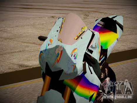 Yamaha YZR M1 2016 Rainbow Dash für GTA San Andreas Rückansicht