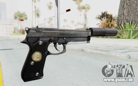 Tariq Iraqi Pistol Back v1 Silver Silenced pour GTA San Andreas deuxième écran