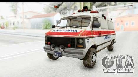 MGSV Phantom Pain Ambulance pour GTA San Andreas sur la vue arrière gauche