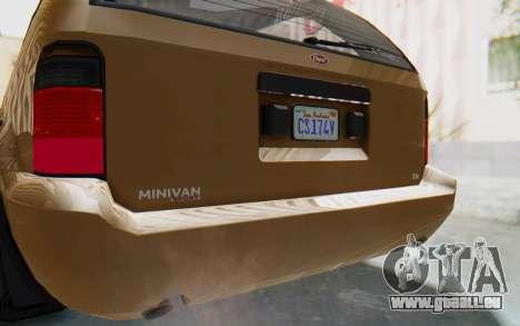 GTA 5 Vapid Minivan pour GTA San Andreas vue intérieure