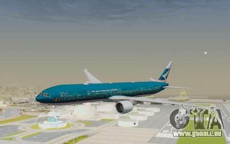 Boeing 777-300ER Cathay Pacific Airways v2 pour GTA San Andreas sur la vue arrière gauche
